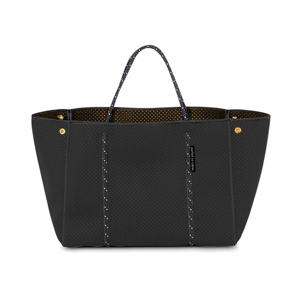 Neoprene Bag - Black - with olive-coloured lining