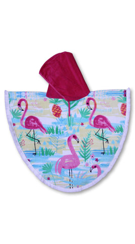 Kid's Beach Poncho (4-9 years) - Flamingos