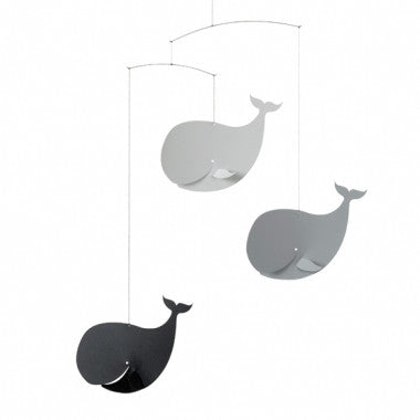 Happy Whales mobile (grey)