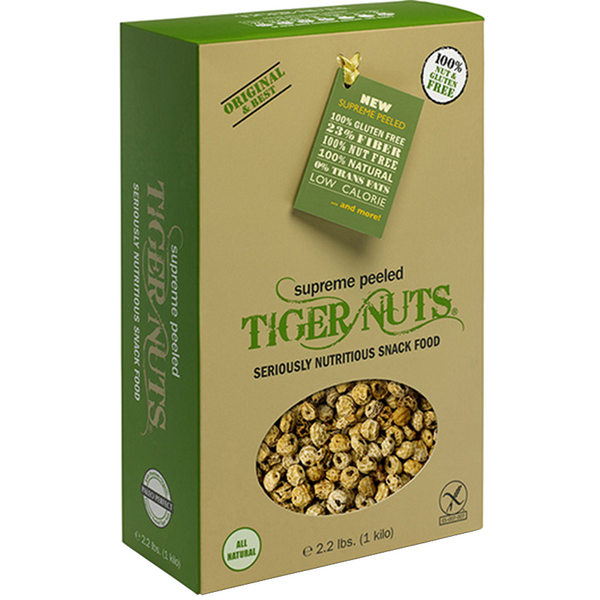 Tiger Nuts, Supreme Peeled x 1 kilo box (2.2 lbs) FREE Shipping on 2 kilo's