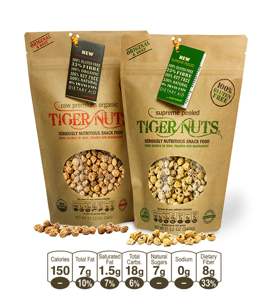 Tiger Nuts Premium Organic & Supreme Peeled 2 x 5 ounce bags