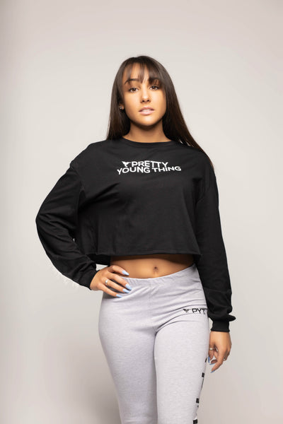 Cropped Long Sleeve Tee Pretty Young Thing 2 Colors