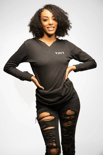 PYT® Long Sleeve V-Notch Hoodie Tee 5 Colors