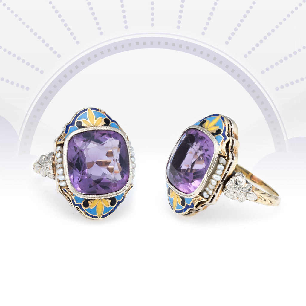 Antique Deco Amethyst Enamel Ring