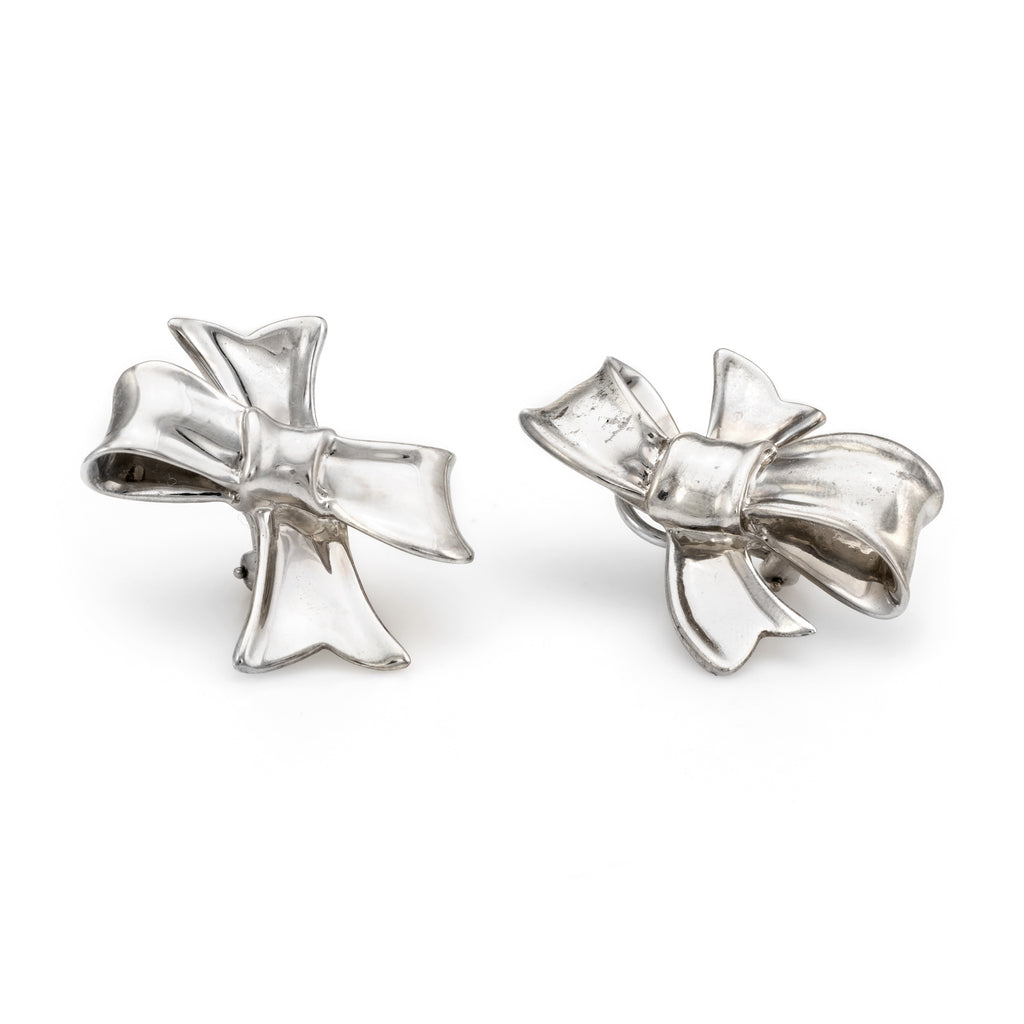 Circa 1984 Angela Cummings Bow Earrings Sterling Silver Vintage Fine Jewelry