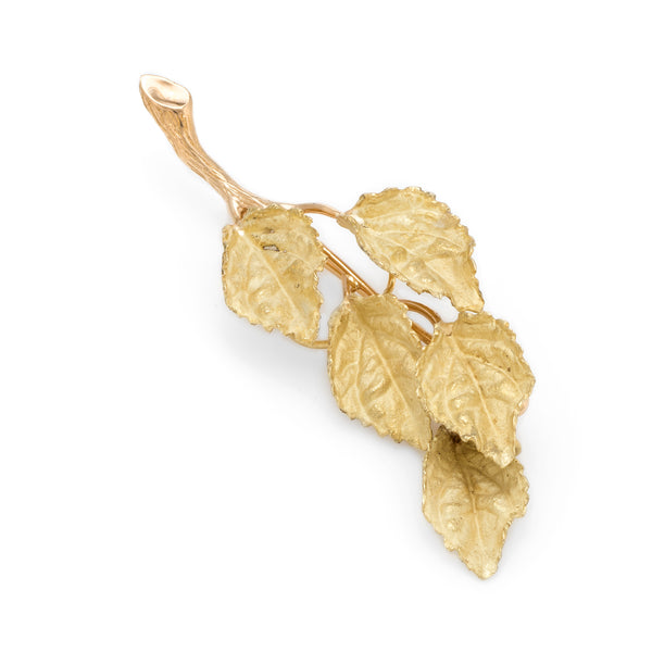 Vintage Leaf Brooch Pendant 18k Yellow Gold Organic Branch Estate Fine Jewelry