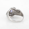 Tanzanite Diamond Cocktail Ring Estate 14k White Gold Vintage Fine Jewelry 9.75