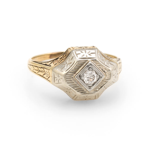 aec094248 Antique Deco Two Tone Diamond Ring Vintage 14k Gold Estate Fine Jewelry  Etched