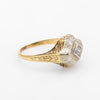 Antique Deco Two Tone Diamond Ring Vintage 14k Gold Estate Fine Jewelry Etched