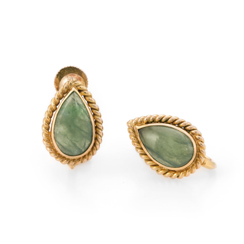 Pear Cut Jade Earrings Vintage 14k Yellow Gold Estate Fine Jewelry Screw Back