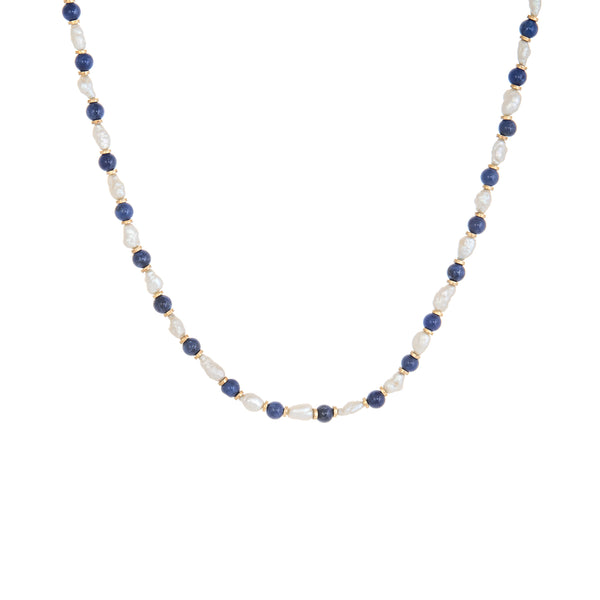 Lapis Lazuli Freshwater Pearl Choker Necklace Vintage 14k Yellow Gold Estate