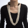 Multi 18 Strand Necklace Freshwater Pearls Onyx Long 32