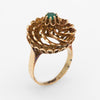 Emerald Swirl Cocktail Ring Vintage 14k Yellow Gold Estate Fine Jewelry Sz 6.25