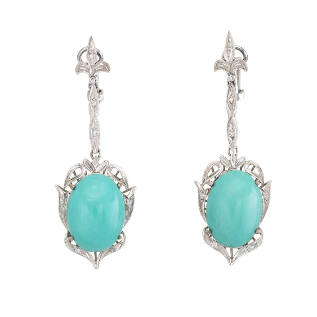 Fleur De Lis Turquoise Diamond Dangle Earrings Vintage 14k White