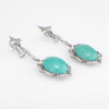 Fleur de Lis Turquoise Diamond Dangle Earrings Vintage 14k White Gold Estate