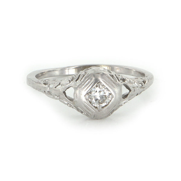 European Cut Diamond Filigree Ring