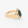 Vintage Jade Diamond Ring 70s Cocktail Jewelry 14k Yellow Gold Estate Fine