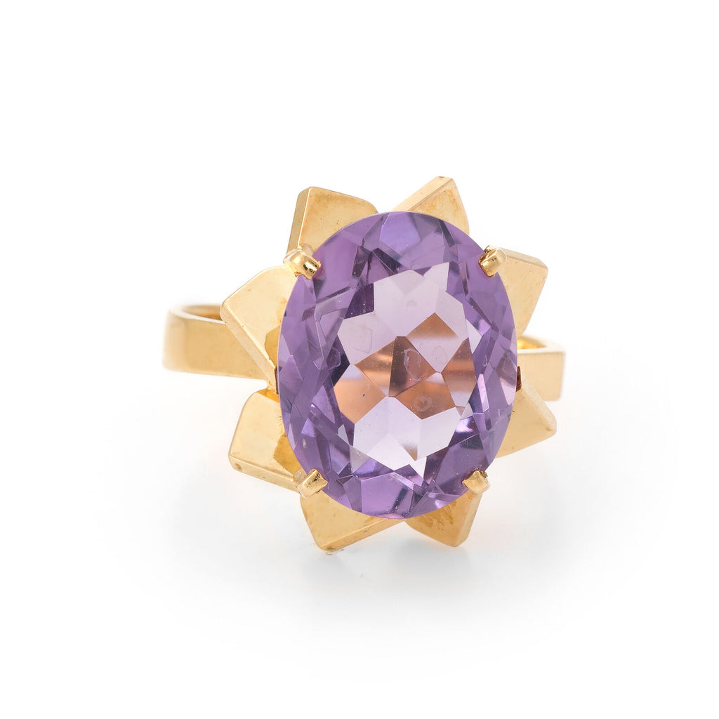 French Amethyst Cocktail Ring Vintage 18k Yellow Gold Oval Cut Estate Jewelry