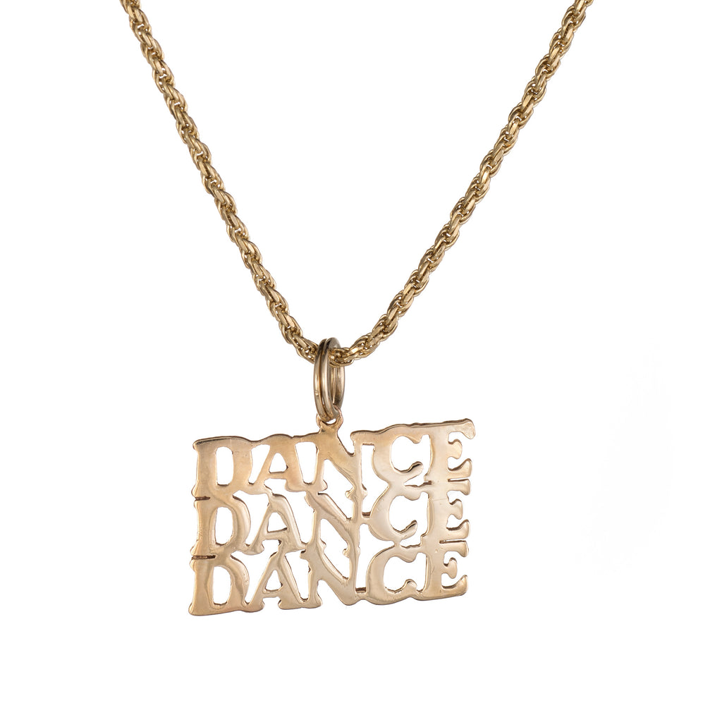 Vintage Dance Pendant Necklace 14k Yellow Gold Estate Fine Jewelry 16