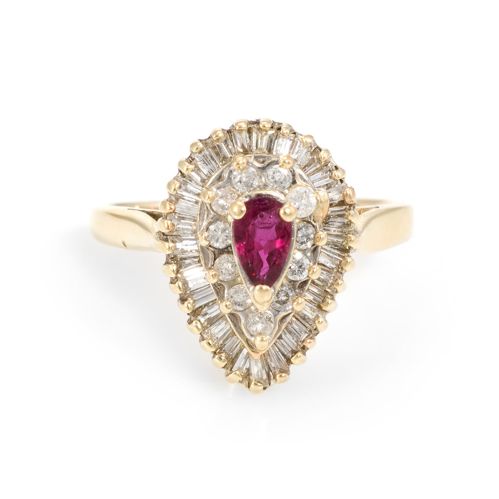 Vintage Ruby Diamond Ring 14k Yellow Gold Pear Shaped Cocktail Estate Cluster
