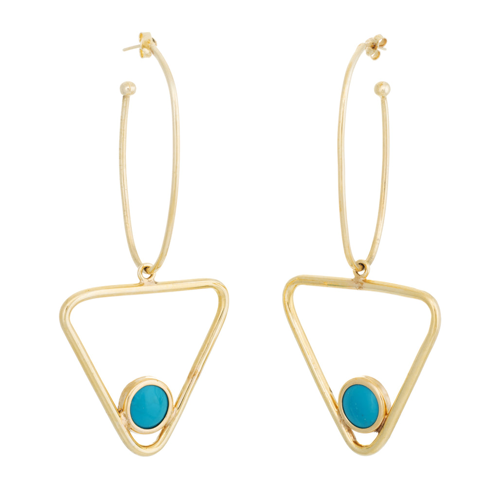 Large Turquoise Triangle Dangle Earrings Vintage 14k Yellow Gold Estate Jewelry