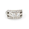 Double Diamond Band Ring Vintage 14k White Gold Estate Fine Jewelry Sz 5 1/2