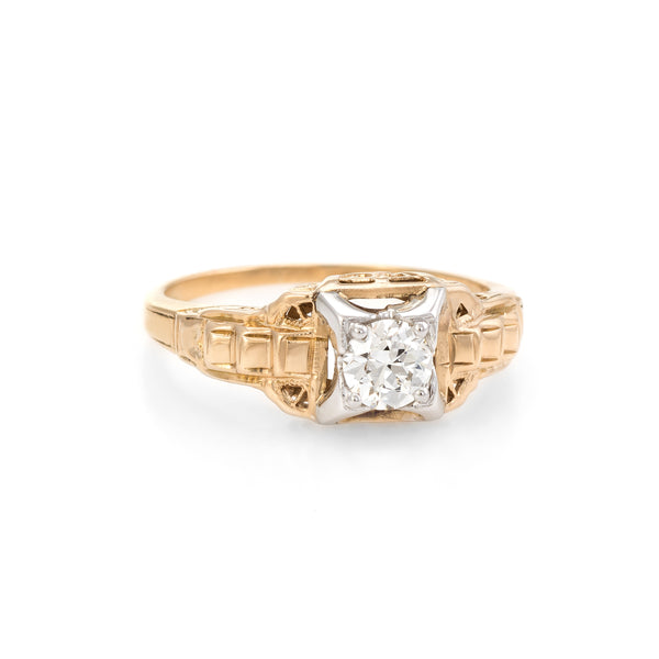 088c10c12 Antique Art Deco Diamond Engagement Ring Vintage 14k Two Tone Gold Fine  Jewelry