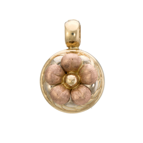 Vintage Flower Pendant 14k Rose Yellow Gold Enhancer Estate Fine Jewelry