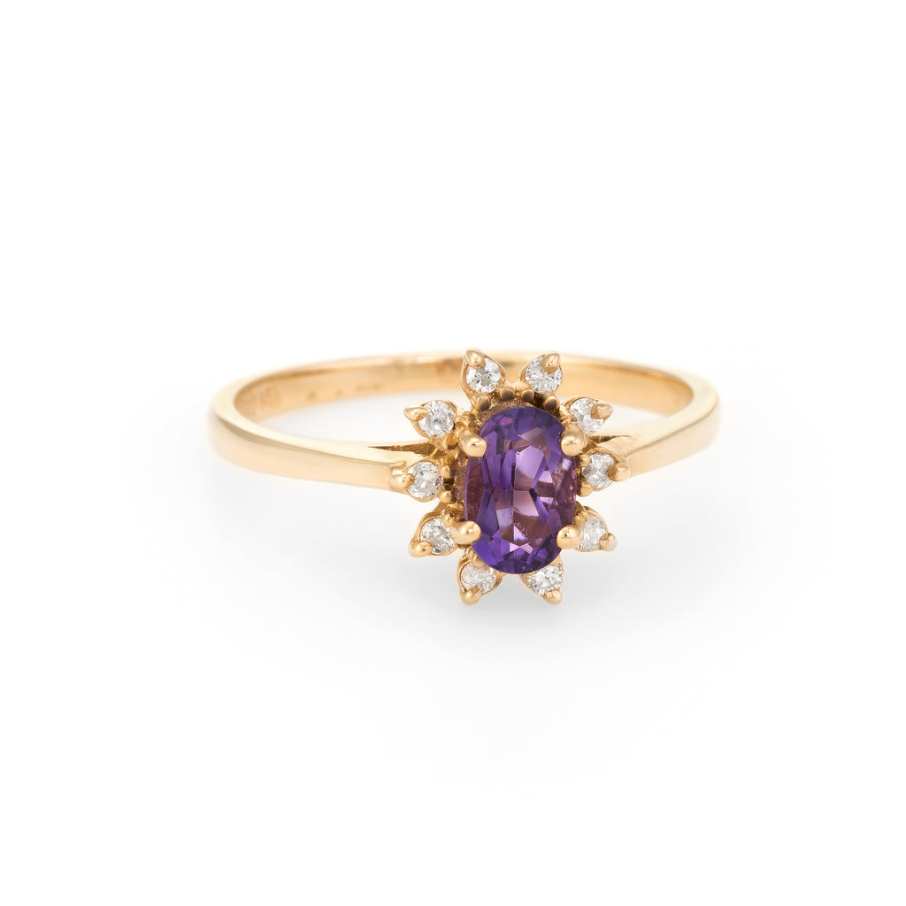 Vintage Amethyst Diamond Ring Small Cocktail Oval Princess Estate Fine Jewelry