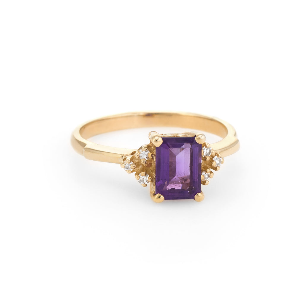 Vintage Amethyst Diamond Ring 14k Gold Small Cocktail Estate Jewelry Sz 6.25
