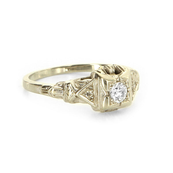 18K Deco Engagement Ring