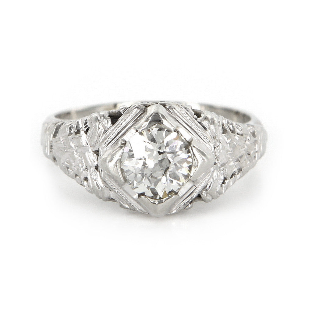 Art Deco Filigree Engagement Ring