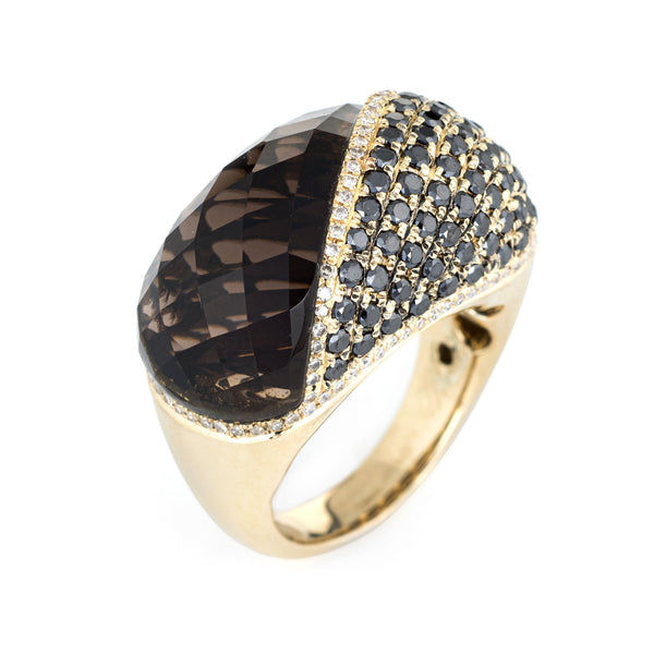 Smoky Topaz Black Diamond Dome Ring 14k Yellow Gold Cocktail Jewelry Estate 7