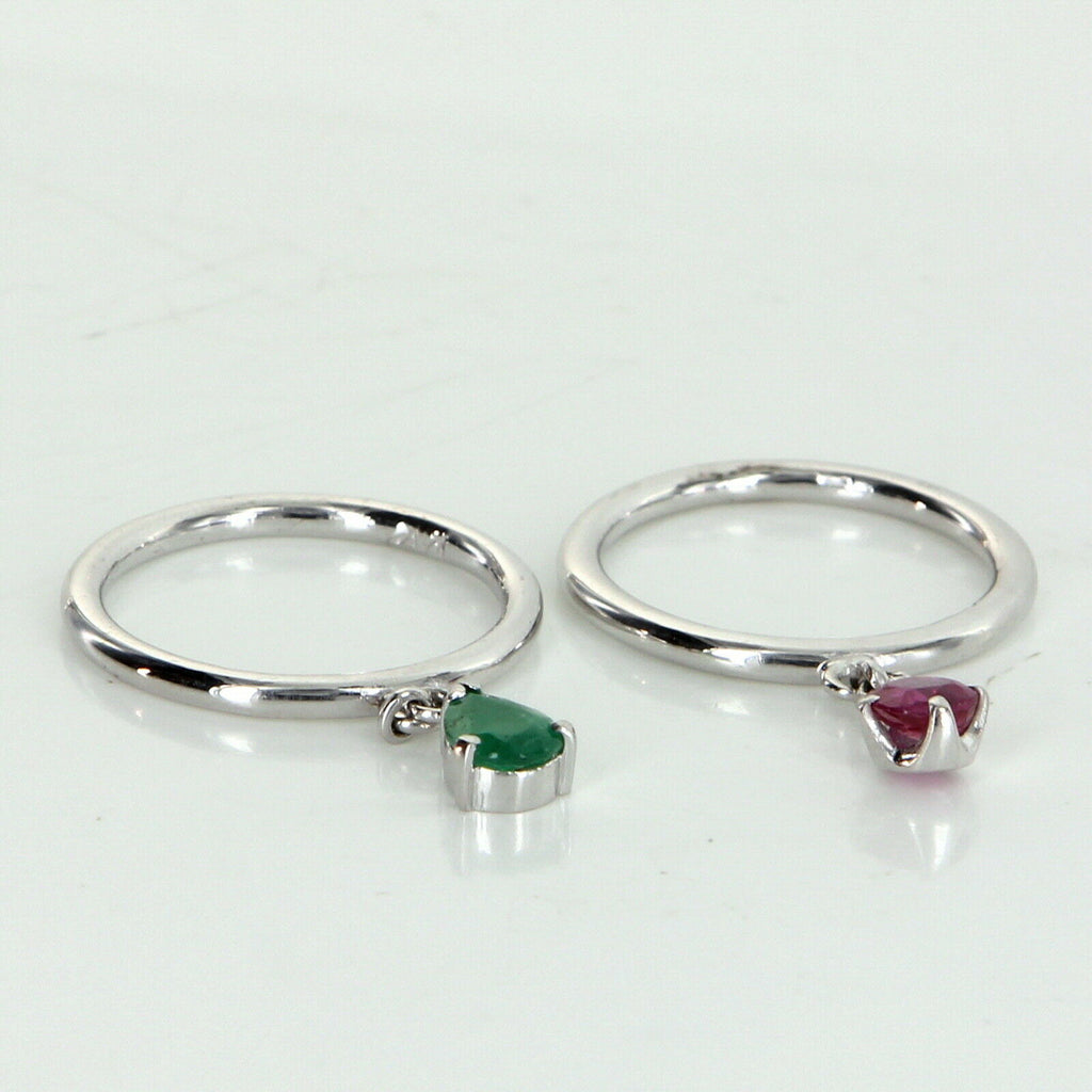 2 Ring Charm Set Vintage Ruby Emerald 14k White Gold Estate Fine Jewelry 5.75