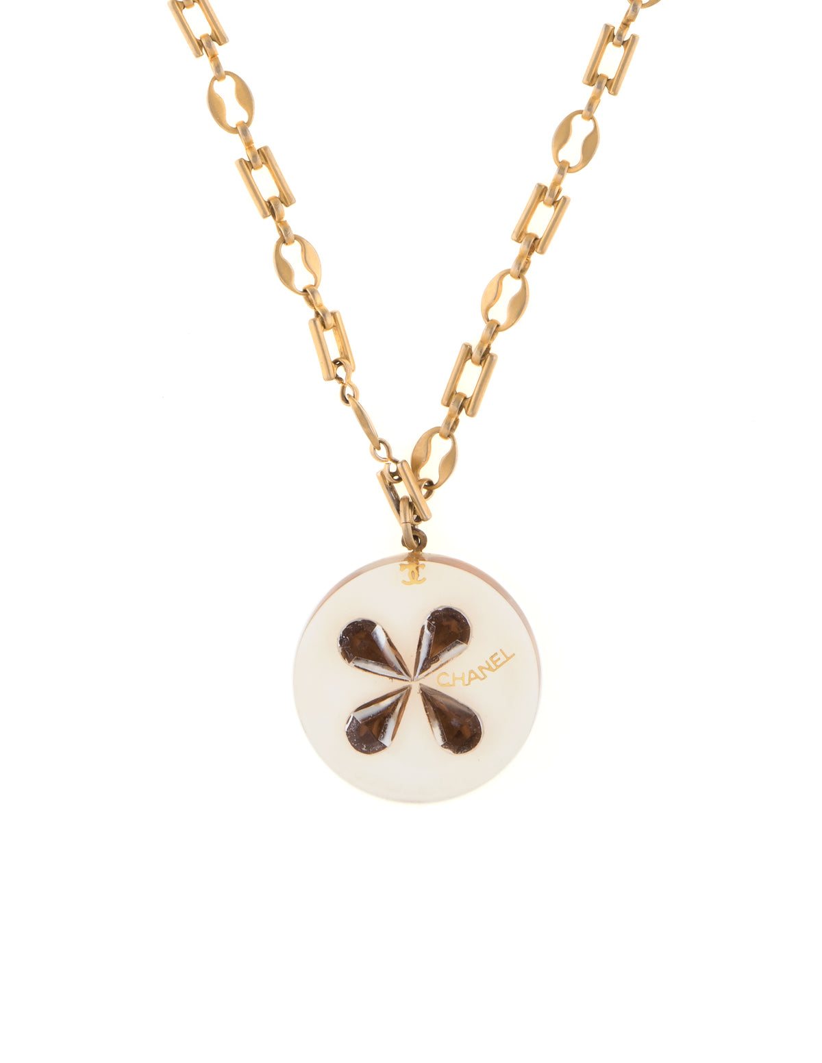 clover and resin necklace