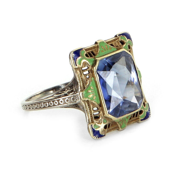 Antique Art Deco 14k Gold Enamel Ring