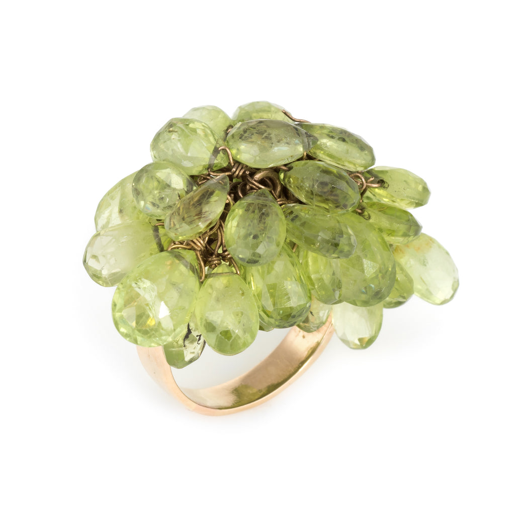 Peridot Charm Cocktail Ring Vintage 18k Yellow Gold