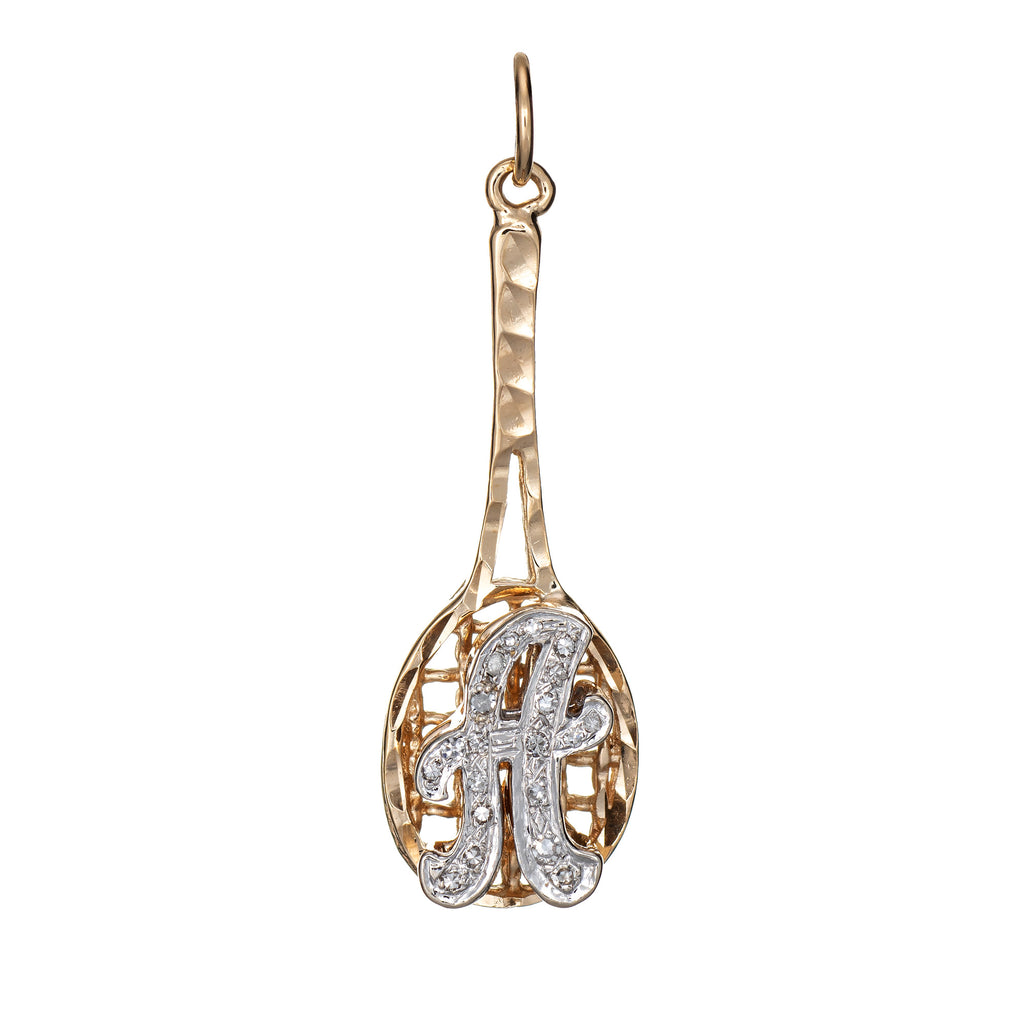 Letter A Diamond Tennis Pendant Vintage 14k Yellow Gold Estate Sports Jewelry