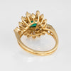 Emerald Diamond Cocktail Ring Vintage 18k Yellow Gold Mixed Cut Estate Jewelry