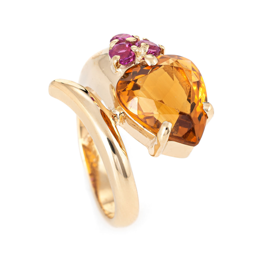 Retro Citrine Ruby Snake Ring Vintage 14k Yellow Gold Sz 5 Estate Fine Jewelry