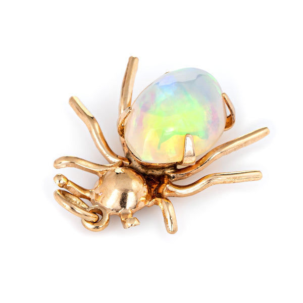 Vintage Spider Pendant Charm Ethiopian Fire Opal 10k Yellow Gold Estate Jewelry