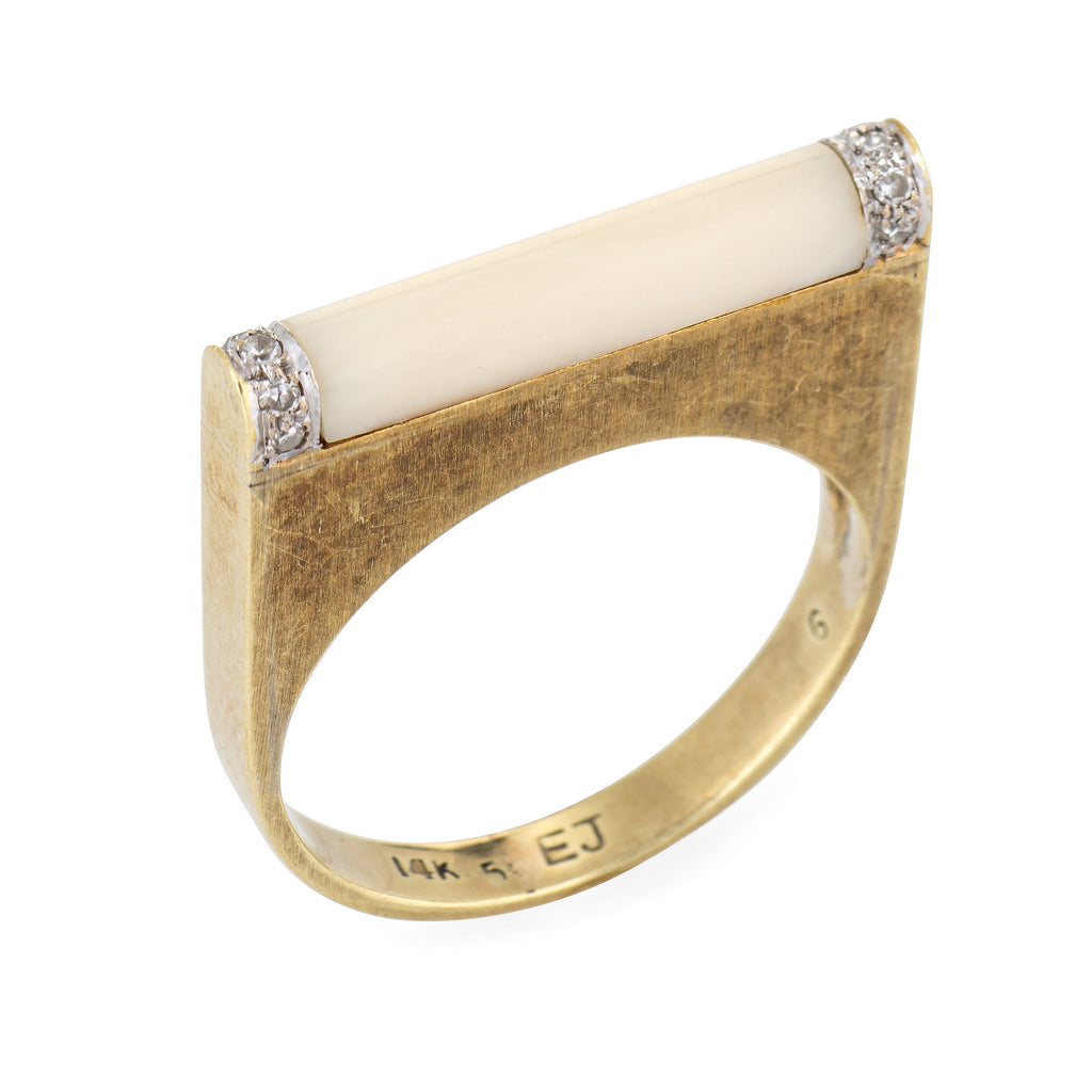 Vintage 70s Diamond Bar Ring White Coral 14k Yellow Gold Square Stacking Band