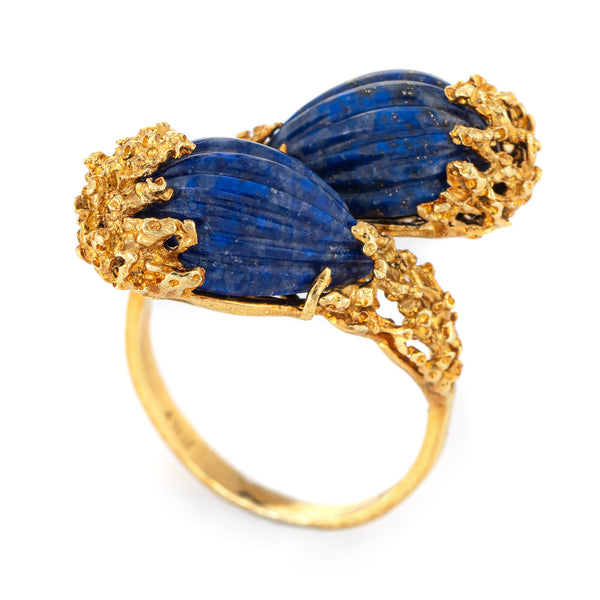70s Fluted Lapis Lazuli Bypass Ring 18k Yellow Gold Brutalist Abstract Sz 7.25