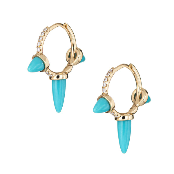 Turquoise Bullet Spike Earrings Diamond Small 1/2
