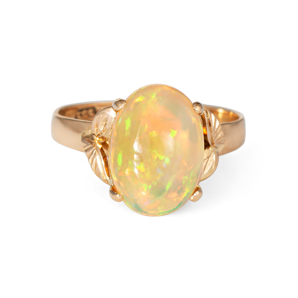 Ethiopian Fire Opal Ring Vintage 14k Yellow Gold Oval Leaf Jewelry Estate 6.75