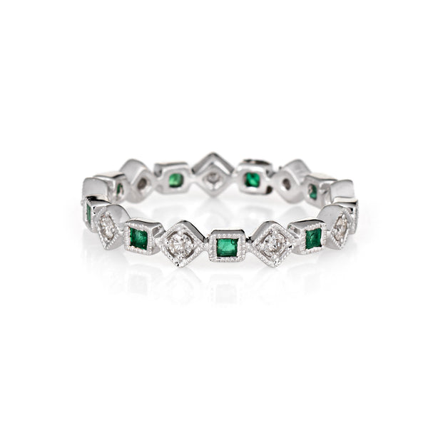 Emerald Diamond Eternity Ring Sz 6.5 Triangle Square 14k White Gold Estate