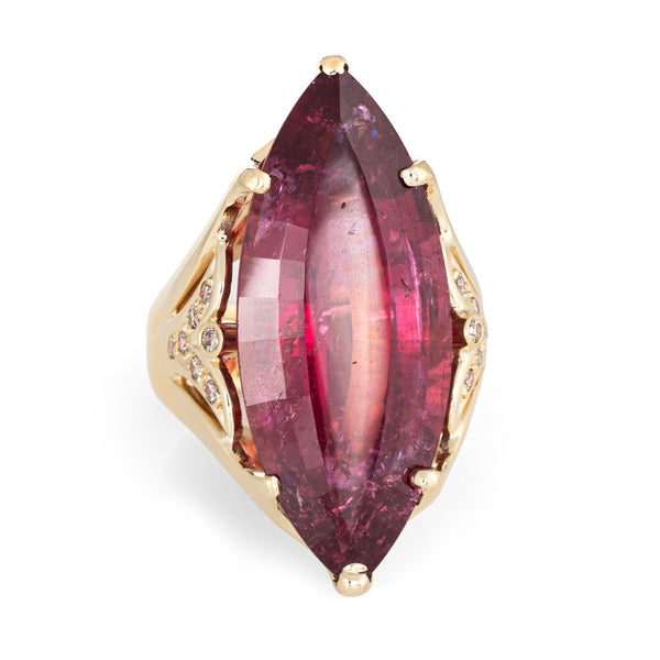 Huge 20ct Pink Tourmaline Diamond Ring Vintage 14k Yellow Gold Marquise Estate
