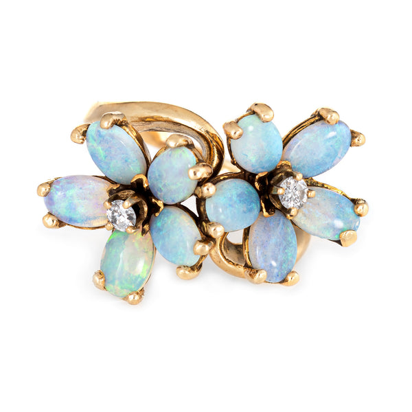 Opal Diamond Double Flower Ring Moi et Toi 14k Yellow Gold Vintage Jewelry 6