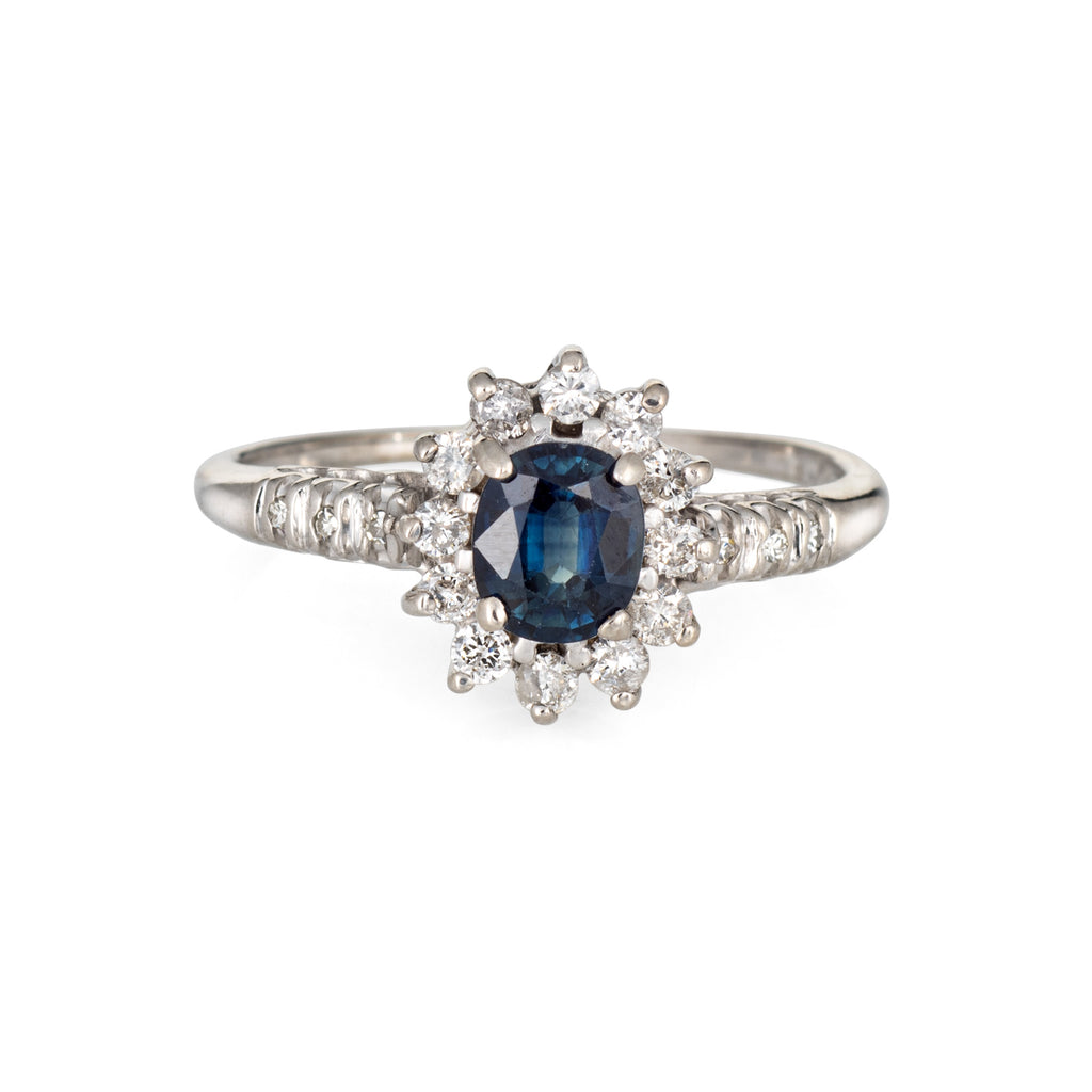 Sapphire Diamond Princess Ring Estate 14k White Gold Gemstone Engagement 8.5