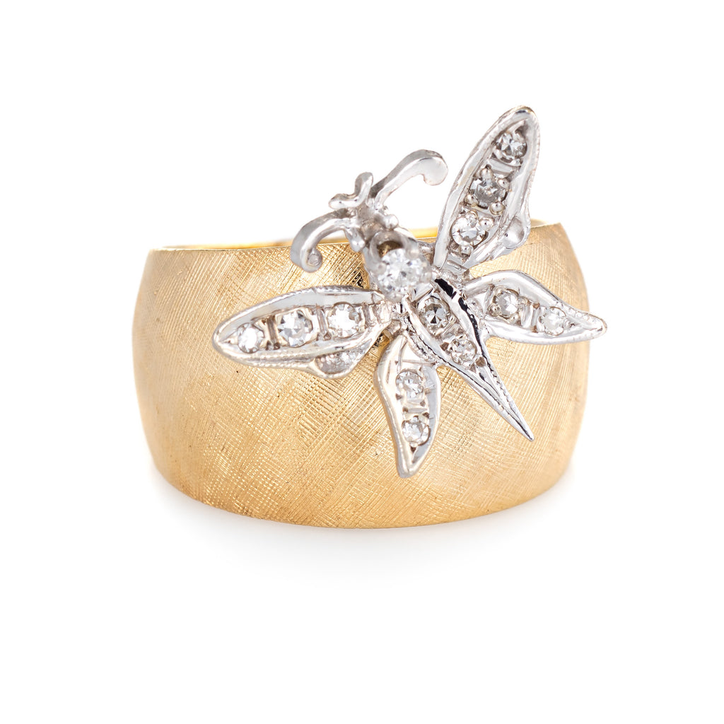 Diamond Butterfly Ring Vintage 14k Yellow Gold Wide Band Florentine Finish 5.75
